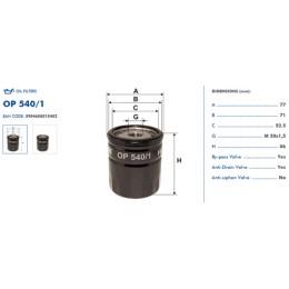 OP540/1 Eļļas filtrs FILTRON (analogi WL7086, OC100, W7053 )