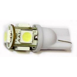 W5W balta - T10 LED 5 diožu auto spuldze. Lampa gabarita lukturiem un salonam