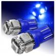 Zila LED T10 auto spuldze 5d, W5W ,  5 diožu lampa gabarita lukturiem un salonam