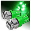 Zaļa LED T10 auto spuldze 5d, W5W ,  5 diožu lampa gabarita lukturiem un salonam