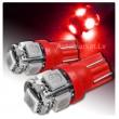 Sarkana LED T10 auto spuldze 5d, W5W ,  5 diožu lampa gabarita lukturiem un salonam