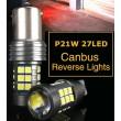 P21W - BA15S balta LED 27 diožu CANBUS auto spuldze vienkontaktu. Īpaši adaptēta VW auto.  gabarīta - atpakaļgaitas - stopsignāla lukturiem