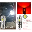 W5W Sarkana - T10  LED 6 diožu CANBUS auto spuldze, Aluminijas korpusā, Lampa gabarita lukturiem un salonam