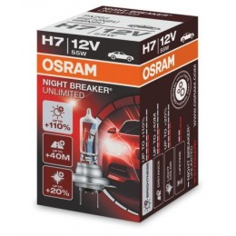 H7 OSRAM NIGHT BREAKER UNLIMITED +110% BOX 64210 NBU-HCB auto spuldze 12V 55W halogēna lampa