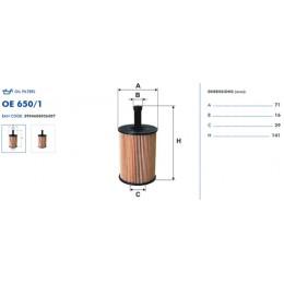 OE650/1 Eļļas filtrs FILTRON (analogi WL7296, OX188D, HU719/7x)