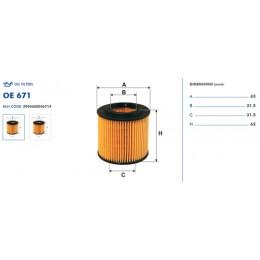 OE671 Eļļas filtrs FILTRON (analogi OE671, WL7318, OX360D, HU710x)