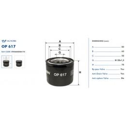 OP617 Eļļas filtrs FILTRON (analogi 51064, OC205, W811/80, W814/80, W87)