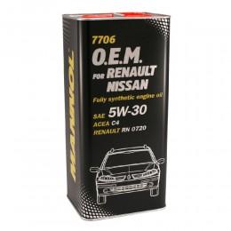 5L - 5W30 RENAULT NISSAN 7706 O.E.M. RN 0720 - MANNOL sintetiskā motoreļļa 5w-30