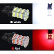 W21/5W - T20 12V balta LED 54 diožu divkontaktu auto spuldze. Lampa gabarita lukturiem