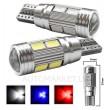W5W balta - T10  LED 10 diožu CANBUS auto spuldze. Aluminijas korpusā, Lampa gabarita lukturiem un salonam